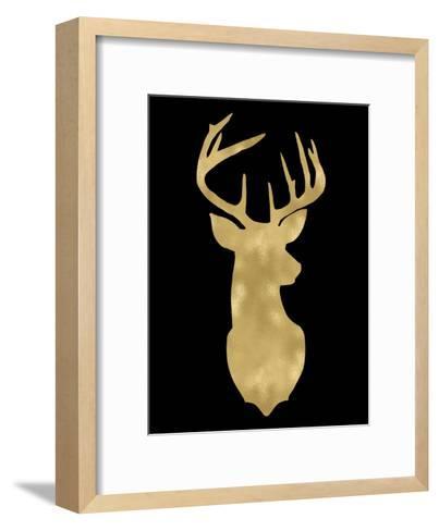 Deer Head Right Face Golden Black-Amy Brinkman-Framed Art Print