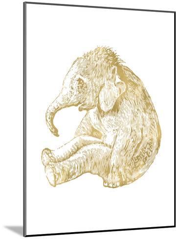 Elephant Baby Golden White-Amy Brinkman-Mounted Art Print