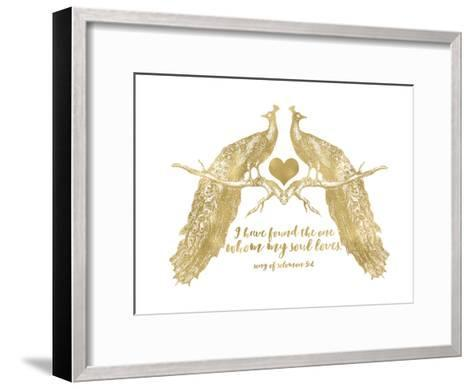 Peacock Pair Solomon3 4 Golden White-Amy Brinkman-Framed Art Print