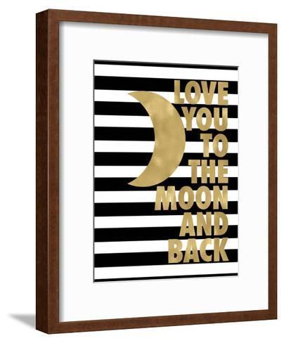 Love You Moon Back Black White Stripe-Amy Brinkman-Framed Art Print