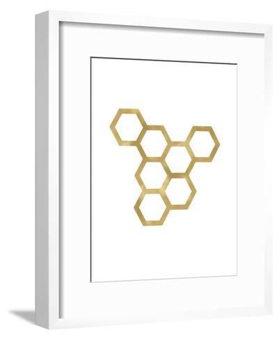Honeycomb Modern Golden White-Amy Brinkman-Framed Art Print