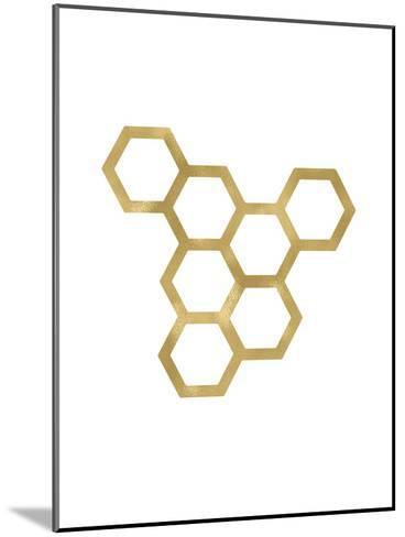 Honeycomb Modern Golden White-Amy Brinkman-Mounted Art Print