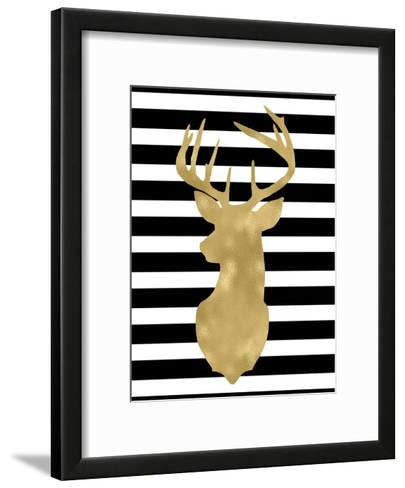 Deer Head Left Face Black White Stripe-Amy Brinkman-Framed Art Print