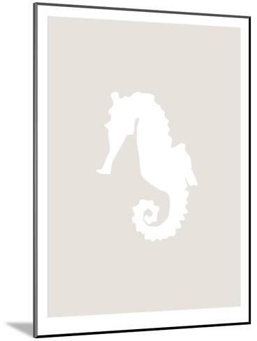 Beige White Seahorse-Jetty Printables-Mounted Art Print
