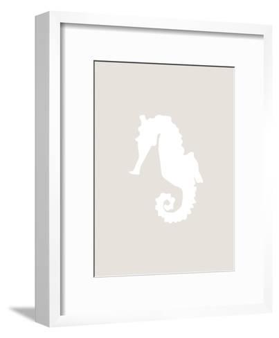 Beige White Seahorse-Jetty Printables-Framed Art Print