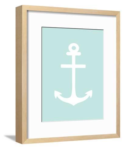 Mint White Anchor-Jetty Printables-Framed Art Print