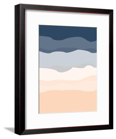 Navy Peach Abstract-Jetty Printables-Framed Art Print