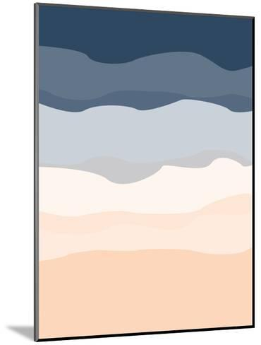 Navy Peach Abstract-Jetty Printables-Mounted Art Print