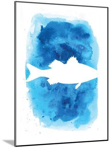 Watercolor Blue Sea Bass-Jetty Printables-Mounted Art Print