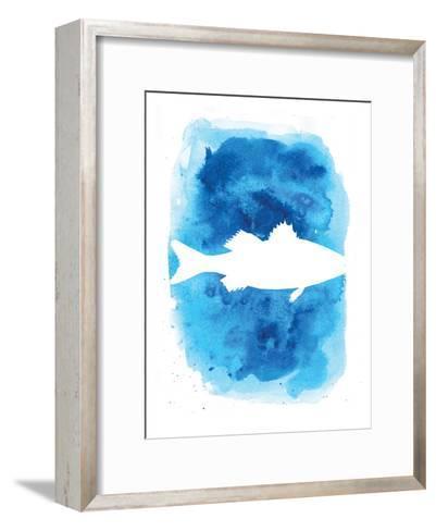 Watercolor Blue Sea Bass-Jetty Printables-Framed Art Print
