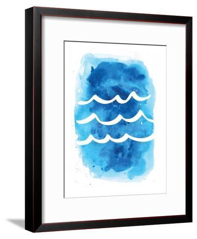 Watercolor Blue Waves-Jetty Printables-Framed Art Print
