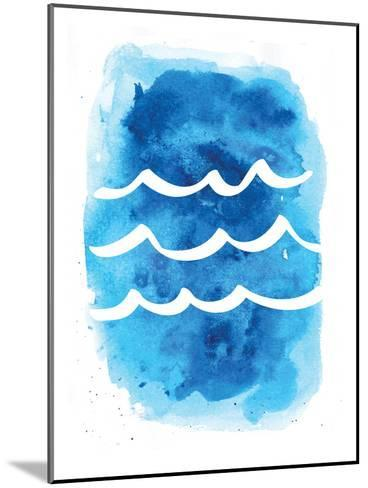 Watercolor Blue Waves-Jetty Printables-Mounted Art Print