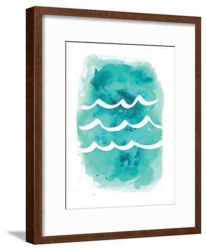 Watercolor Aqua Waves-Jetty Printables-Framed Art Print