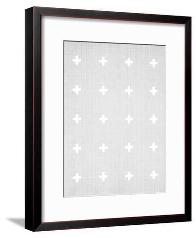 Crosses On Grey-LILA X LOLA-Framed Art Print