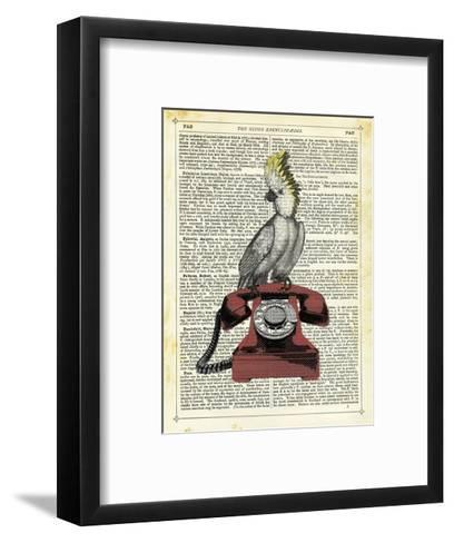 Cocatoo on Telephone-Marion Mcconaghie-Framed Art Print