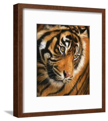 Tiger Face Portrait-David Stribbling-Framed Art Print