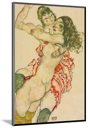 Two Women Embracing-Egon Schiele-Mounted Art Print
