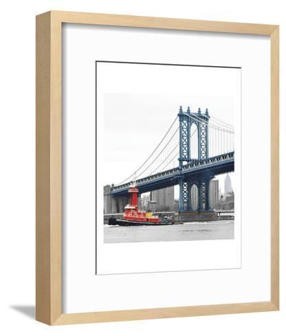 Manhattan Bridge with Tug Boat-Erin Clark-Framed Art Print