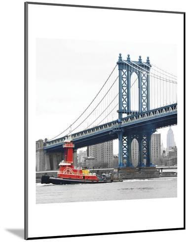 Manhattan Bridge with Tug Boat-Erin Clark-Mounted Art Print