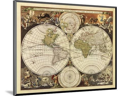 New World Map, 17th Century-Visscher-Mounted Art Print