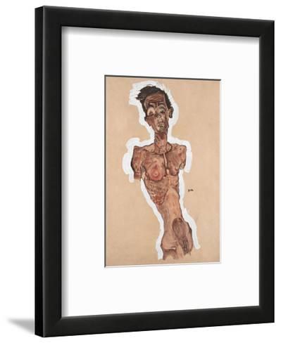 Nude Self-Portrait-Egon Schiele-Framed Art Print