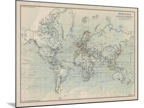 Ocean Current Map I-The Vintage Collection-Mounted Giclee Print