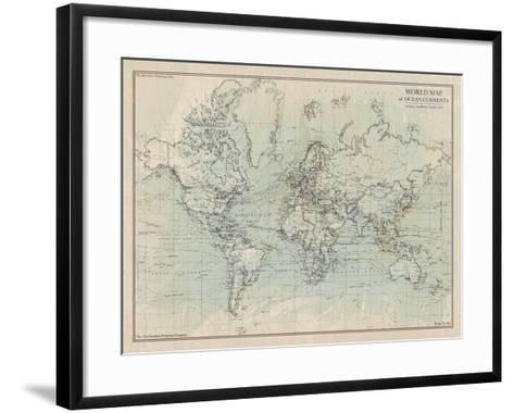 Ocean Current Map I-The Vintage Collection-Framed Art Print