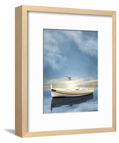 The White Boat in Sunset-Carlos Casamayor-Framed Art Print