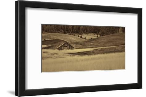 Brown Barn in the Blonde Gra-Don Schwartz-Framed Art Print