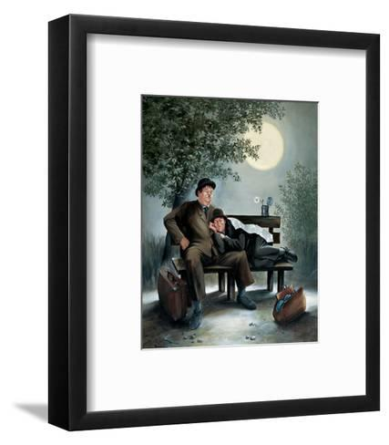 Laurel & Hardy Overnight Bench-Renate Holzner-Framed Art Print