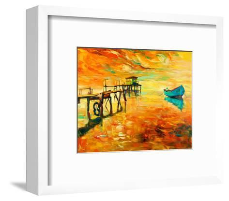 Sunset Boat and Jetty Painting--Framed Art Print