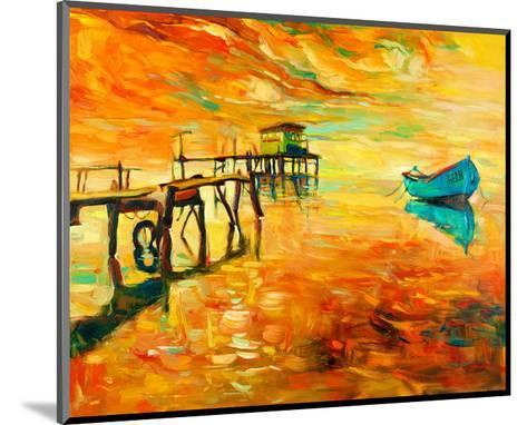 Sunset Boat and Jetty Painting--Mounted Art Print