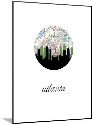 Atlanta Map Skyline--Mounted Art Print