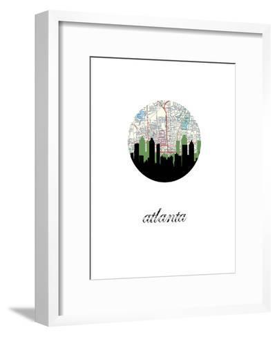 Atlanta Map Skyline--Framed Art Print