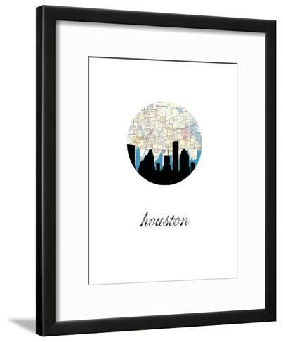 Houston Map Skyline--Framed Art Print