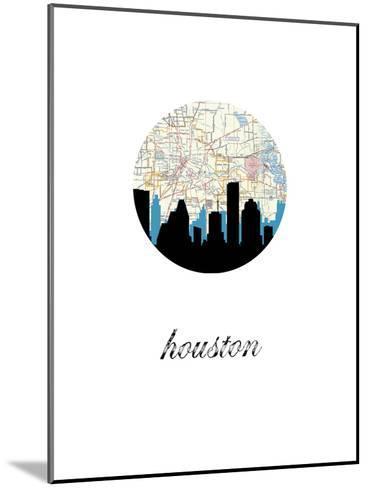 Houston Map Skyline--Mounted Art Print
