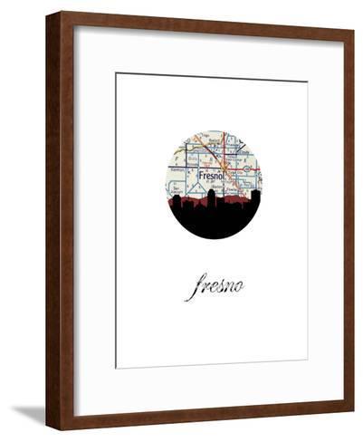 Fresno Map Skyline--Framed Art Print