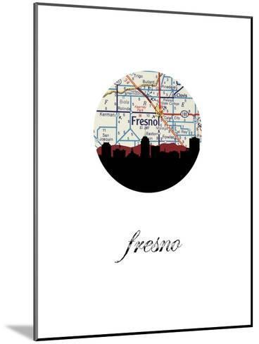 Fresno Map Skyline--Mounted Art Print