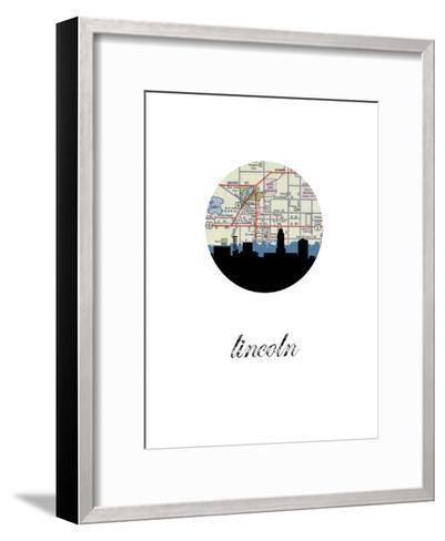 Lincoln Map Skyline--Framed Art Print