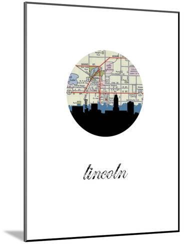 Lincoln Map Skyline--Mounted Art Print