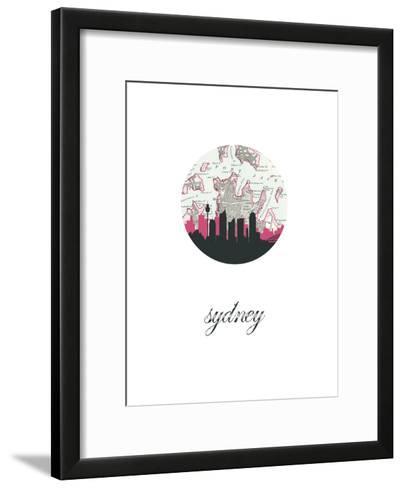 Sydney Map Skyline--Framed Art Print