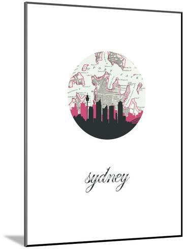 Sydney Map Skyline--Mounted Art Print