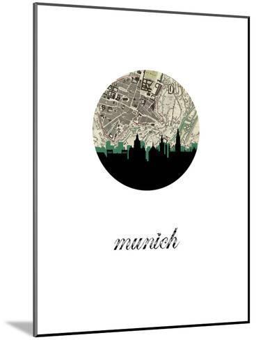 Munich Map Skyline--Mounted Art Print