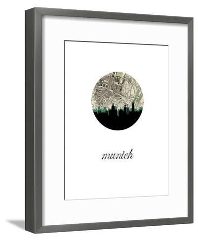 Munich Map Skyline--Framed Art Print