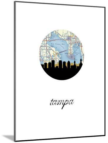 Tampa Map Skyline--Mounted Art Print