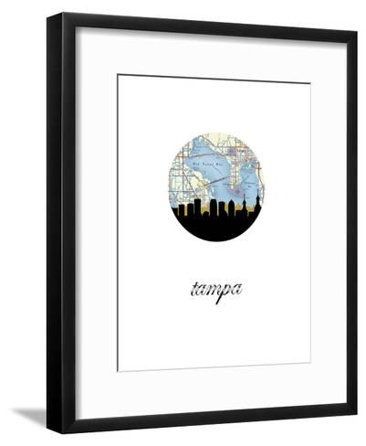 Tampa Map Skyline--Framed Art Print