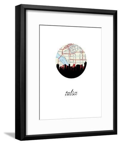 Tulsa Map Skyline--Framed Art Print