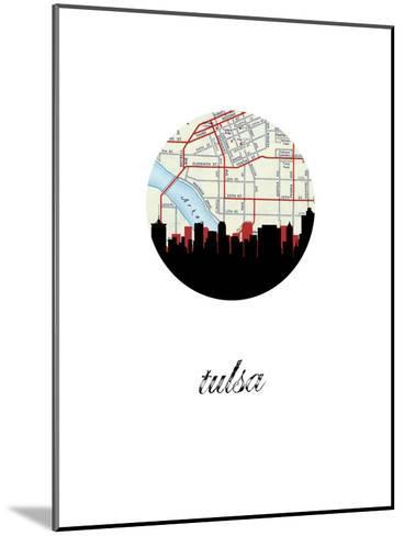 Tulsa Map Skyline--Mounted Art Print
