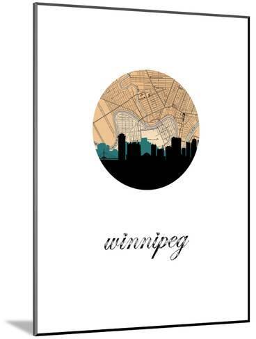 Winnipeg Map Skyline--Mounted Art Print
