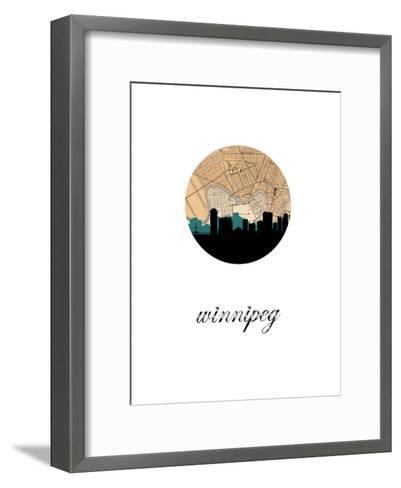 Winnipeg Map Skyline--Framed Art Print